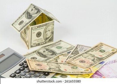 Home made from dollar notes and Calculator