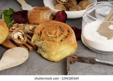 Home made fresh baked cinnamon buns, with ingredients and tools, pastry restaurant menu