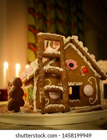 Home made gingerbread house at Christmas