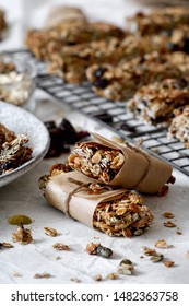 Home made granola energy bars. Healthy energy snacks, healthy delicious snack.