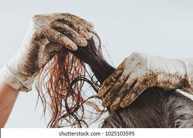 Home made hair Treatment with mud .