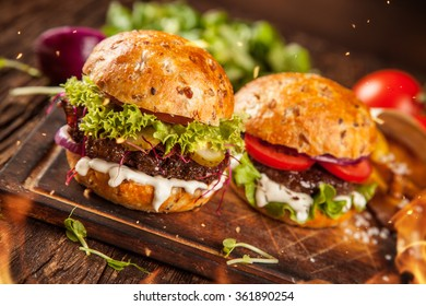 Home made hamburgers with lettuce and cheese