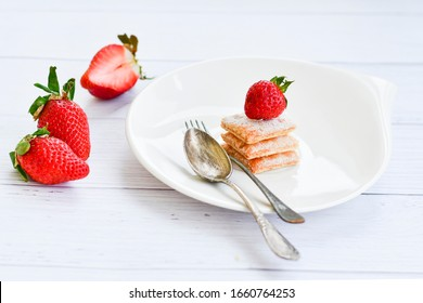 Home made italian strawberry mille-feuille dessert  on white background