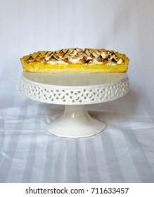 home made lemon meringue pie, cut in half