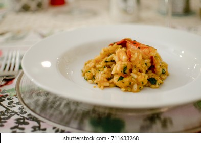 Home made lobster risotto at a dinner party.