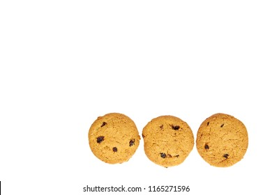 Home made oragnic chocolate chips cookies with raisins. Isolated on white background, copy space template.
