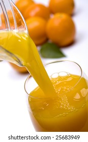 Home made orange juice poured in a glass