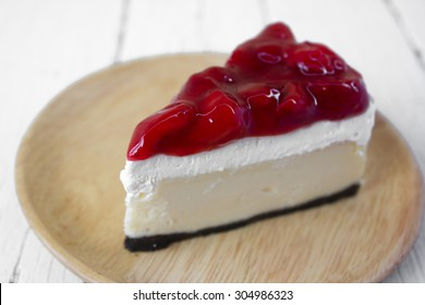 Home made , a piece of strawberry cheesecake.