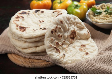 Home made pita bread, flatbread popular in Turkey and Middle East