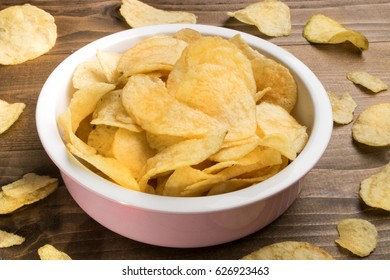 home made potato crisps in a bowl