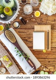 Home made skin care. Natural skin care products. Eco friendly bathroom and spa accessories. Fresh ingredients for preparing natural, organic scrub with a notepad to write down the recipe. Flat lay