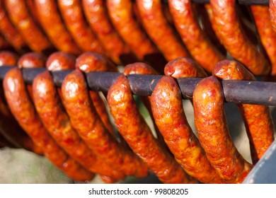 Home made smoked sausages.