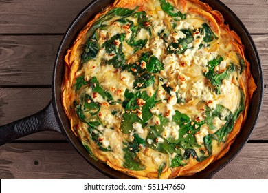 Home made Spinach quiche in a sweet potato crust with feta cheese