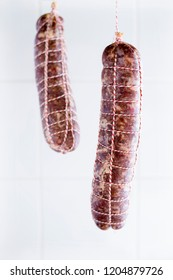 Home made wet salamis ready to be dry cured.