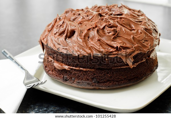 Home made whole chocolate cake with chocolate icing
