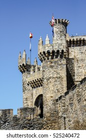 Home or main entrance of Templar castle in Ponferrada, the Bierzo, Spain.