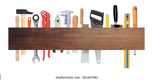 Home maintenance, service, diy concept. Set of hand tools on white background, Wooden banner, space for text