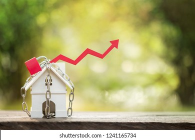 Home model with security and lock and red arrow graph with growing value put on the coin in the public park, Business investment the real estate concept.
