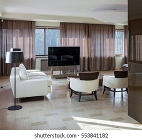Home modern luxury theater interior with big windows