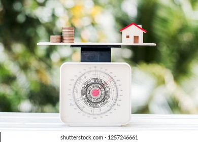 Home money coins on balance Weighing Scales on wood green background. Concept of saving buy new home and mortgage investment real estate or cost of living for house loan.