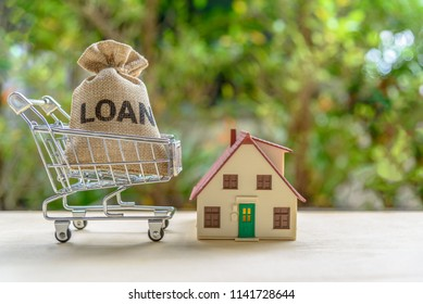 Home / mortgage loan or reverse mortgage concept : Loan bag in a shopping cart, small model residential house over green nature background, depicts the financing activities between lender and borrower