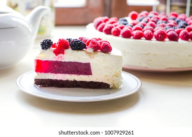 Home mousse cake with cottage cheese and with raspberries and blackberries. The concept of proper nutrition, weight loss, health holidays