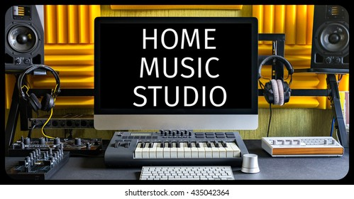 Home music studio. Front view.