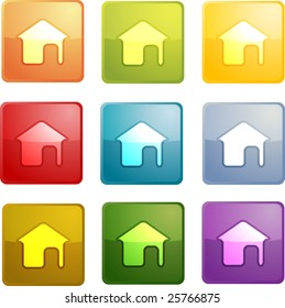 Home navigation icon glossy button, square shape, multiple colors
