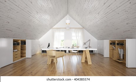 Home office in attic - 3 d render