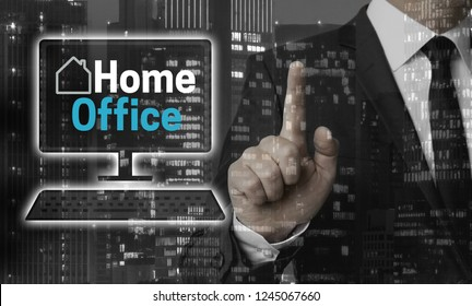 Home office concept is shown by businessman.