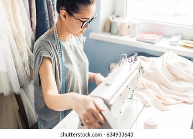 home office desk background, Desk Dressmaker ,Workplace of seamstress,Custom Costume concept.