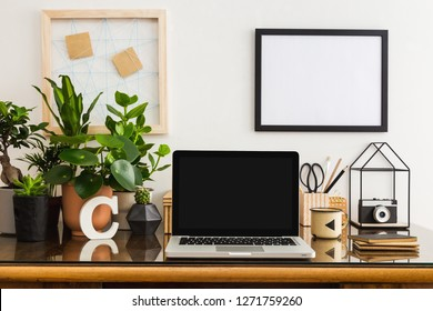 Home office desk with notebook computer, poster frame, plants, succulents and a camera. Artist workspace.