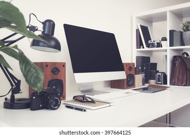 Home office desktop computer template / mockup