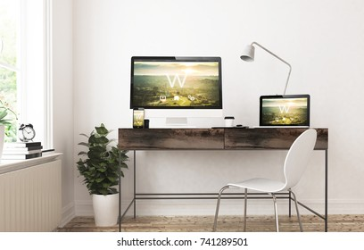 home office devices 3d rendering website cms responsive design.