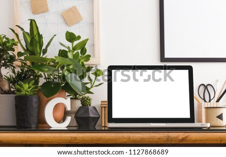 Home Office Interior Design Wooden Desk Stock Photo Edit Now
