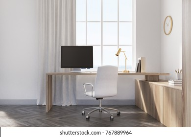 Home office interior with white walls, a wooden floor, a large window and a computer table near a wooden bookcase. Posters. 3d rendering mock up toned image