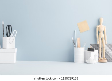 Home office school desk. Minimal workspace mock up.