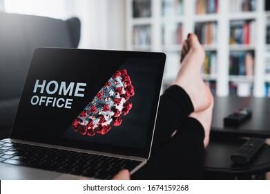 Home office theme. Home office during coronavirus pandemic. Novel coronavirus 2019 COVID-19 theme. Coronavirus wallpaper on computer.