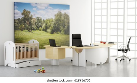 Home office with toys concept of work life balance 3d rendering