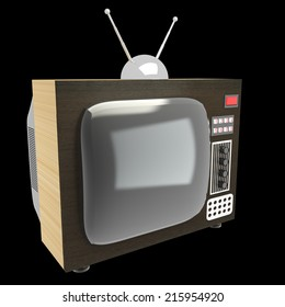 home old tv. My own design. isolated on black background 3d illustration. high resolution