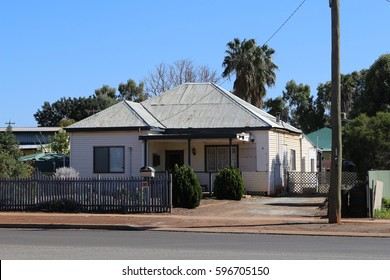 Home with palm tree in Kalgoorlie in the Western Australian outback