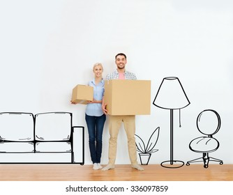 home, people, repair and real estate concept - happy couple holding cardboard boxes and moving to new place over furniture cartoon or sketch background