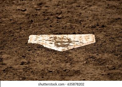 Home plate baseball sport american on field with fresh dirt