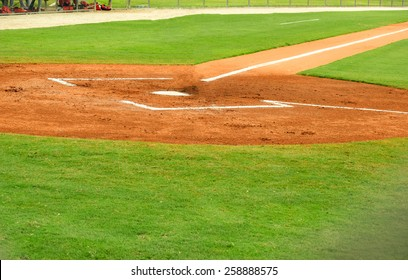home plate and batters box at a baseball field