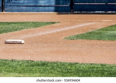 Home plate and first base on a baseball diamond