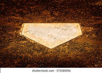 Home plate on baseball diamond for batter to score points