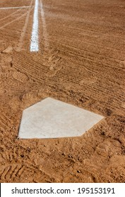 Home plate with the third base line