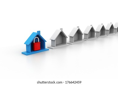 home protected with padlock