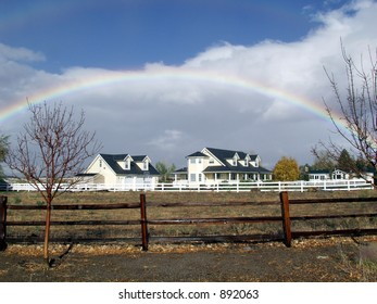 home with rainbow