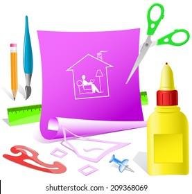 Home reading. Paper template. Raster illustration.
